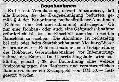Amtsblatt 1949 Bauabnahmen