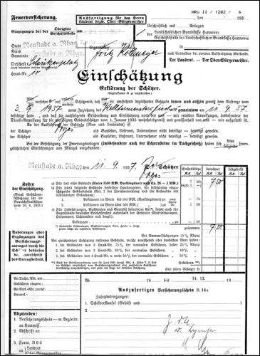 Einschätzung 1937 S 1