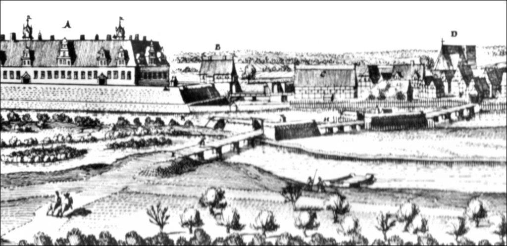 Stich von Merian 1652 - Neustadt am Rübenberge und die damaligen Brücken