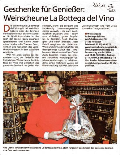 Geschenke für Geniesser: LA Bodega del Vino in Neustadt (Leinezeitung)