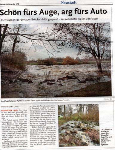 Zeitungsartikel aus der Leinezeitung vom16. Nov 2010