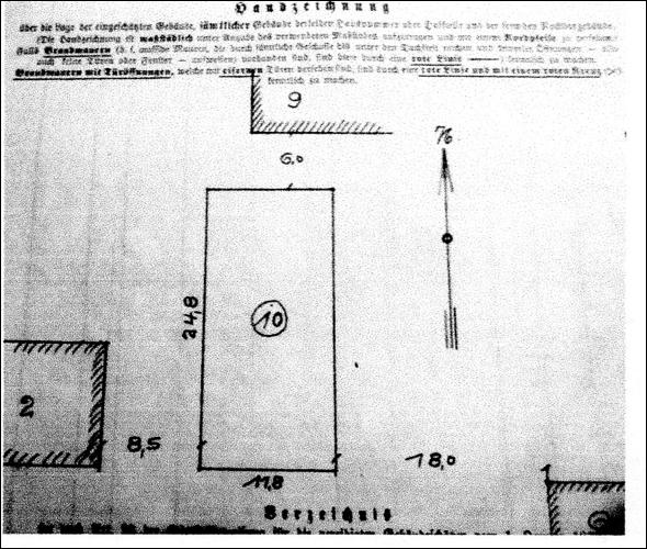 Handzeichnung zur Gebäudeeinschätzung von 1939