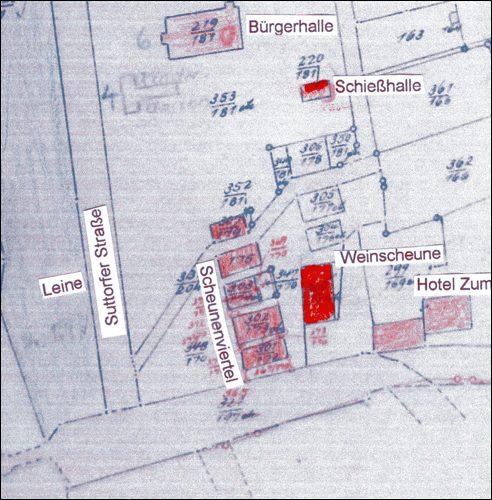 Aus Kartenblatt 11 der Gemarkung Neustadt a. R. nach 1883 (Die Bürgerhalle ist erst 1883 eingeweiht worden und im Plan nachträglich eingetragen)