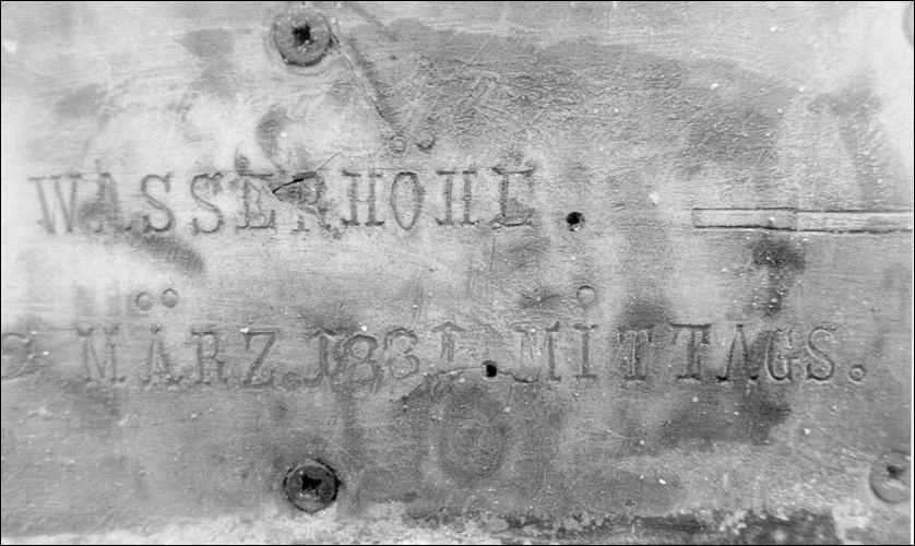Plakette von 1881, Wasserhöhe März 1881 mittags (Foto Dyck 2019)