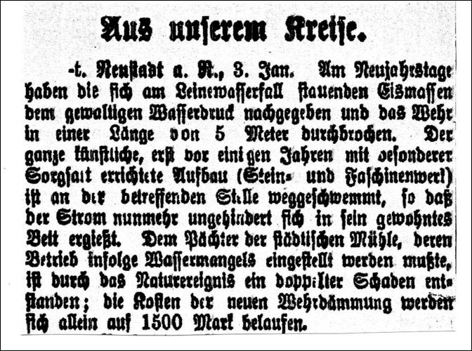 """Zeitungsartikel aus der Leinezeitung aus der Rubrik """"Aus unserem Kreise"""" vom4. Januar 1904"""