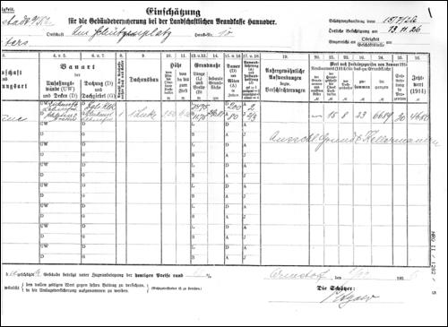 Einschätzung für die Gebäudeversicherung 1926 (NRÜ II 1282 /5)