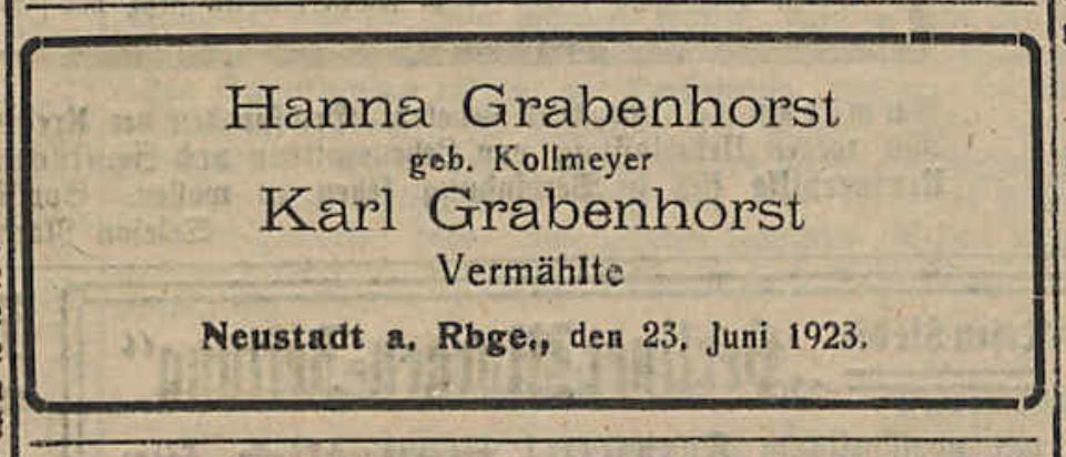 Eheschließung von Hanna und Karl Grabenhorst, 1925 (Leine-Zeitung)