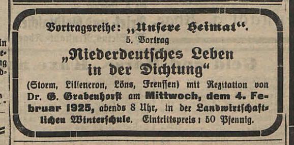 Vortrag: Niederdeutsches Leben in der Dichtung.